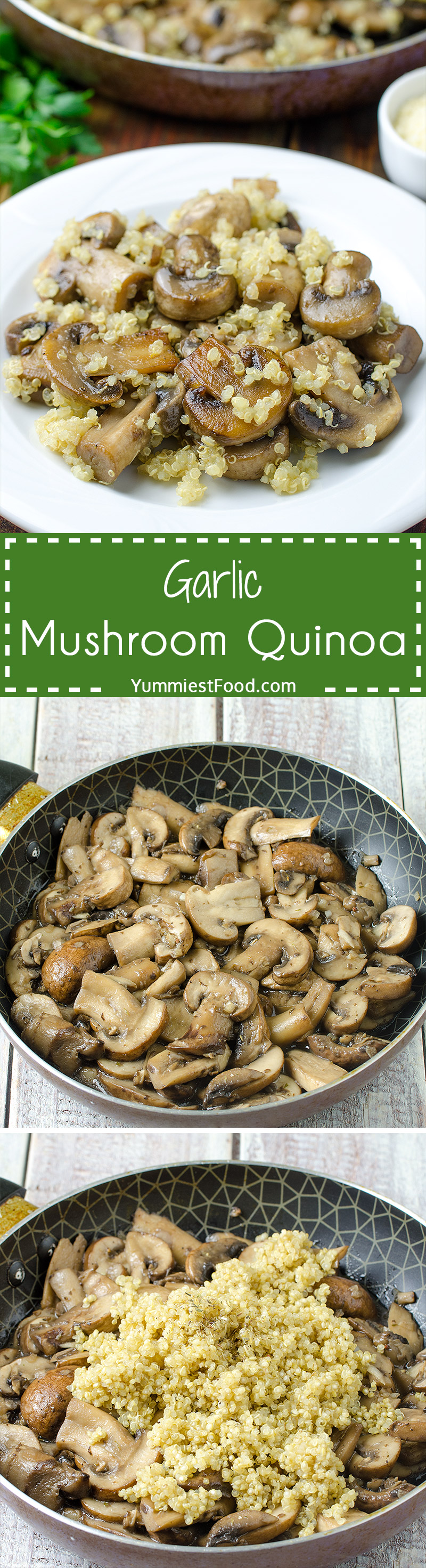 GARLIC MUSHROOM QUINOA - a simple, healthy and gluten free side dish ready in 15 minutes