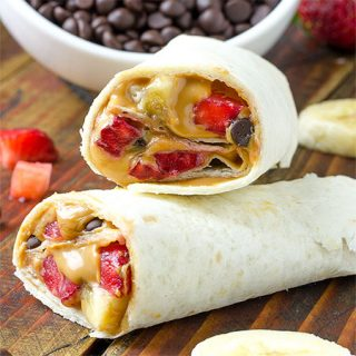 Healthy Peanut Butter, Strawberry, Banana Wrap Recipe - Featured Image