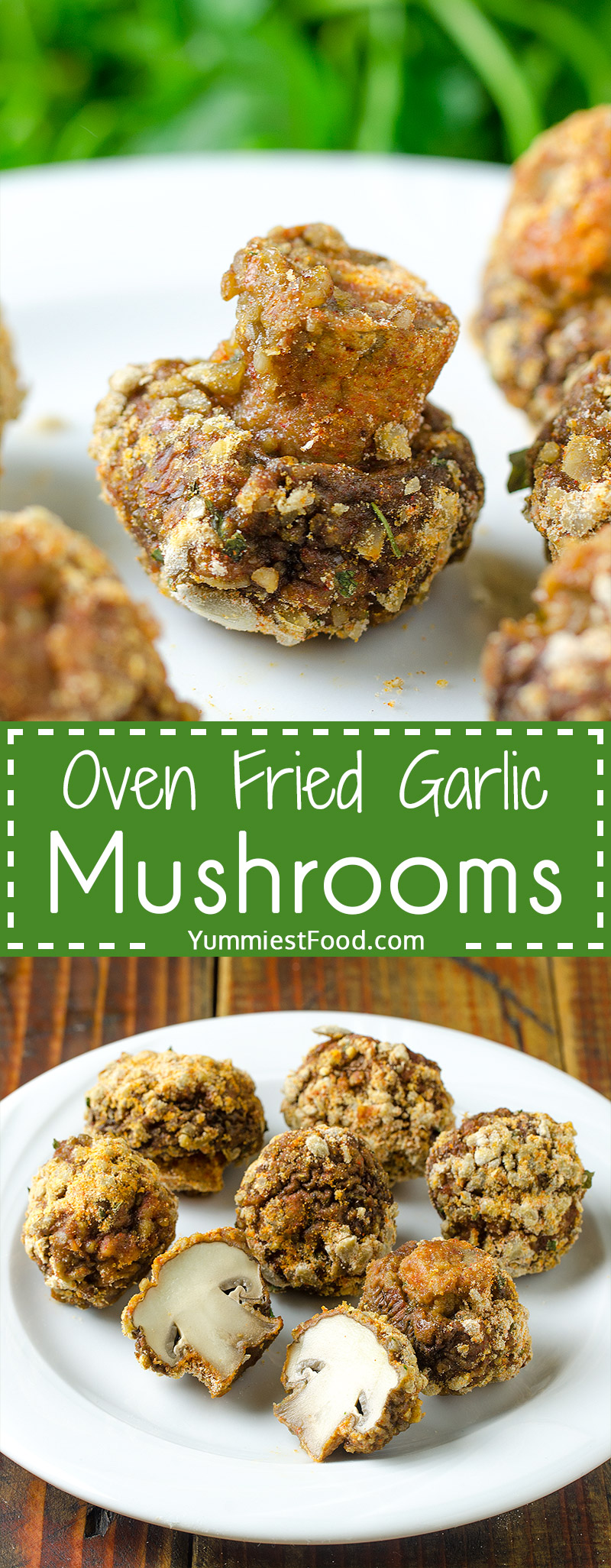 Delicious, easy and tender these Oven Fried Garlic Mushrooms are a perfect healthy side dish that take under 25 minutes to make