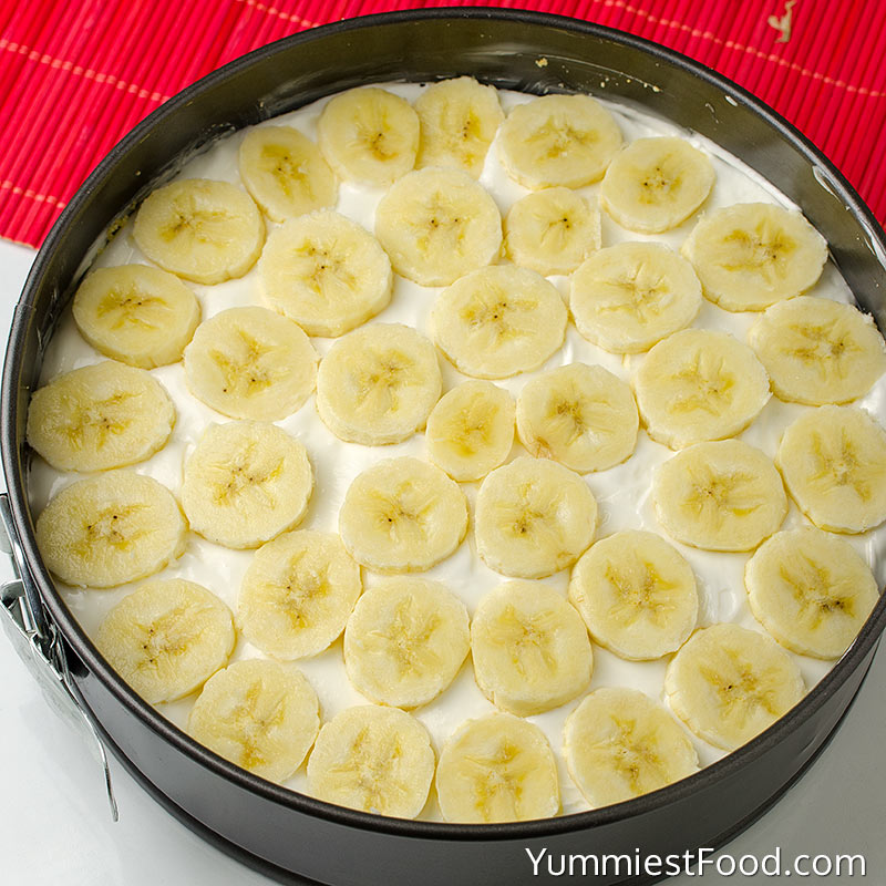 No Bake Banana Split Cheesecake Recipe - Making - Step 2