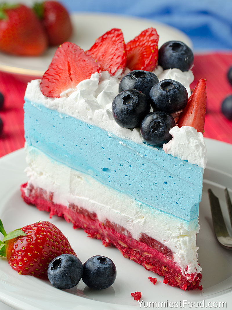 No Bake Summer Berry Cheesecake - served on the plate