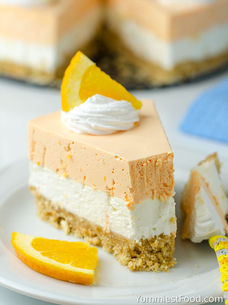 No Bake Orange Creamsicle Cheesecake - served on the plate