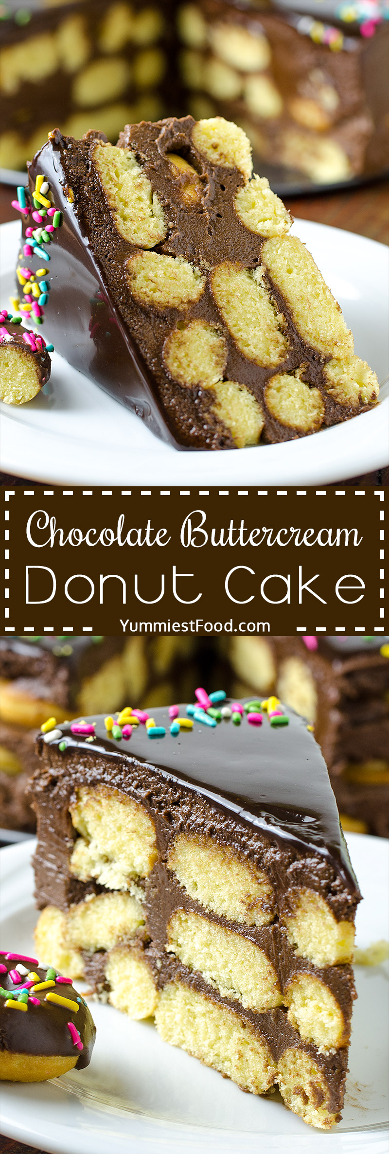 CHOCOLATE BUTTERCREAM DONUT CAKE - Chocolate buttercream and homemade mini donuts