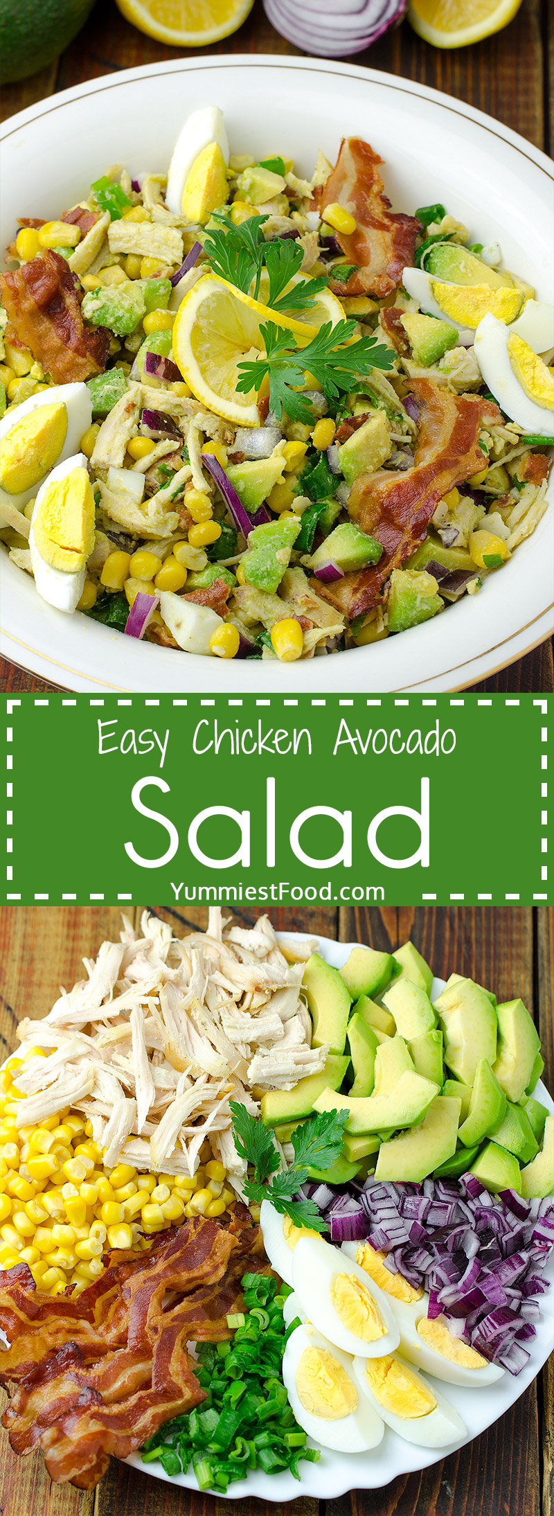 EASY CHICKEN AVOCADO SALAD - A perfect salad to throw together at any time of the day with No Cooking