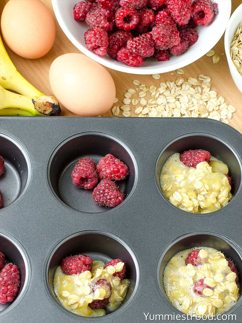 Healthy Banana Raspberry Oatmeal Muffins - Making - Step 1