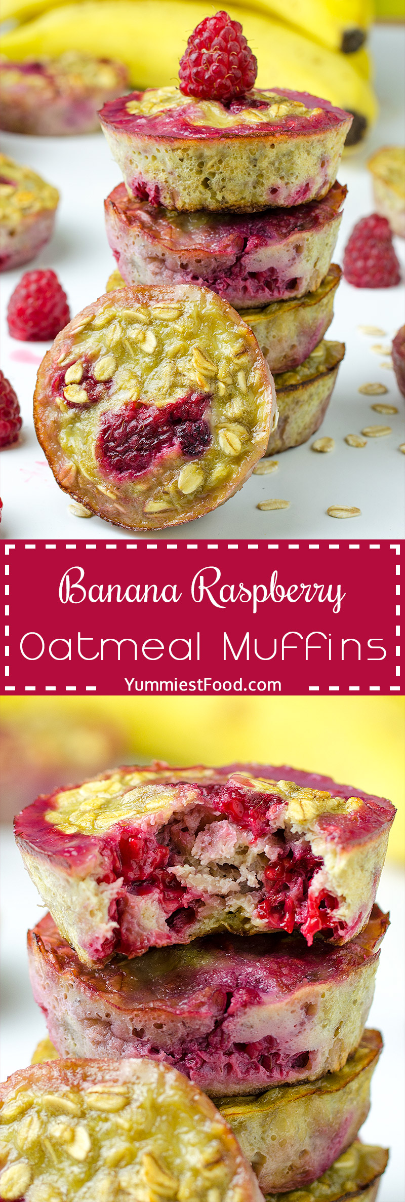 HEALTHY BANANA RASPBERRY OATMEAL MUFFINS - A QUICK, EASY and delicious recipe with FOUR ingredients, NO flour, sugar or butter
