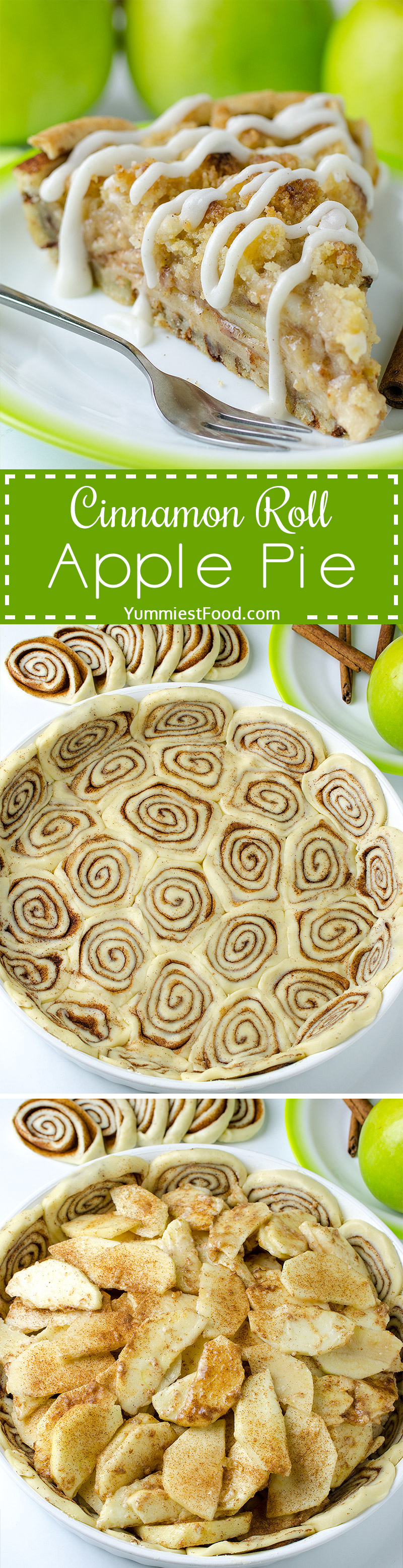 CINNAMON ROLL APPLE PIE - is perfect Thanksgiving treat. Combo of classic apple pie and yummy cinnamon rolls