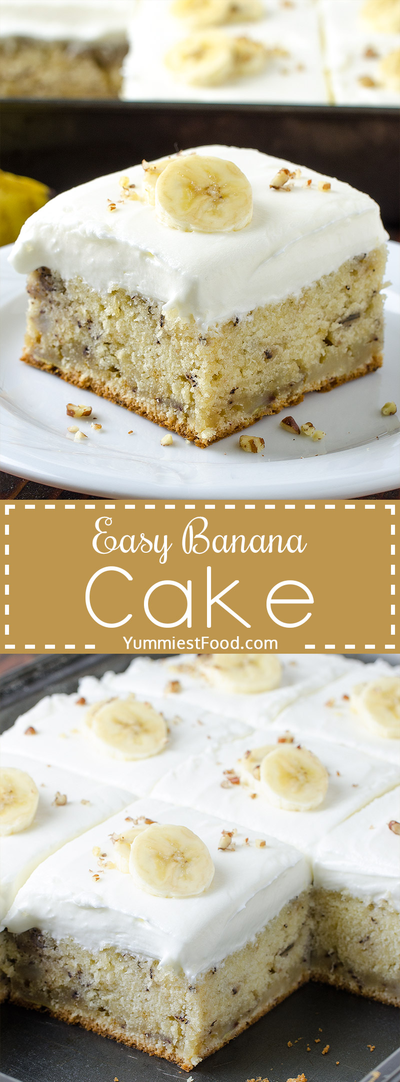 EASY BANANA CAKE - It's soft, sweet with the perfect amount of banana and it's topped with cream cheese frosting