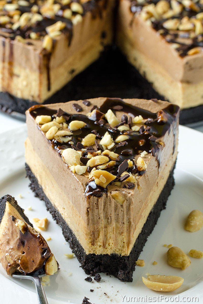 Peanut Butter Chocolate Cheesecake - No Bake - served on the plate