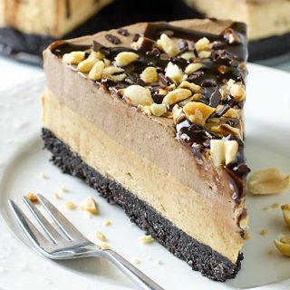Peanut Butter Chocolate Cheesecake - No Bake Recipe - Featured Image