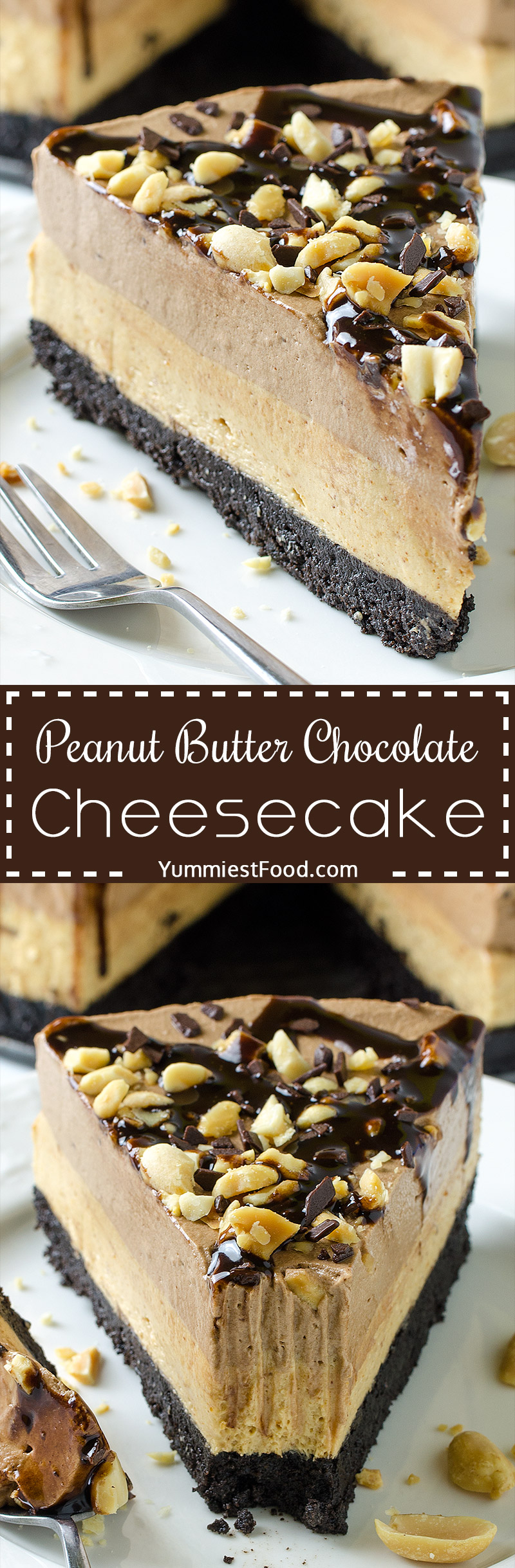PEANUT BUTTER CHOCOLATE CHEESECAKE - NO BAKE - is a quick and easy Oreo, peanut butter and chocolate dessert recipe, perfect for summer and anytime you need no-bake dessert