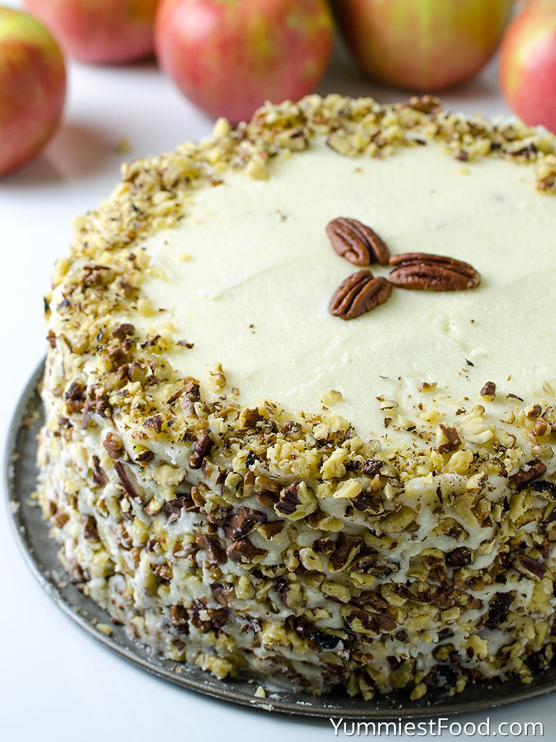 Apple, Pecan Cake With Buttercream Frosting - a Whole Cake
