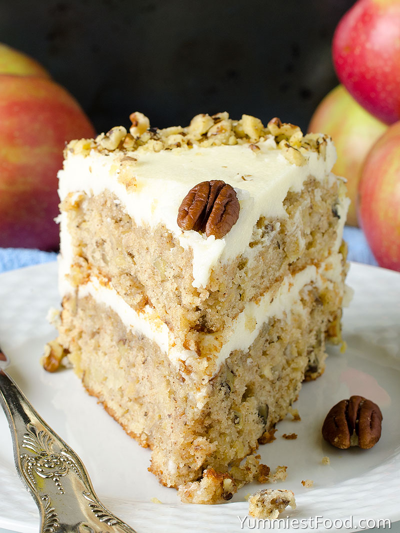 Apple, Pecan Cake With Buttercream Frosting - served on the plate