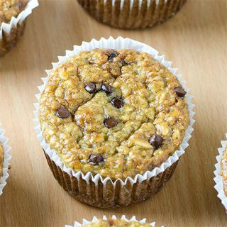 Healthy Banana Oat Greek Yogurt Muffins with Chocolate Chips