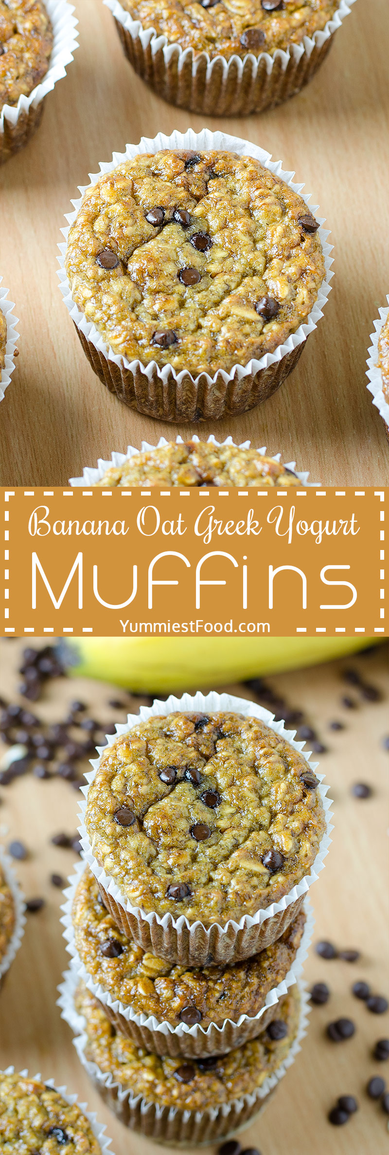 HEALTHY BANANA OAT GREEK YOGURT MUFFINS with CHOCOLATE CHIPS - Healthy, Easy muffins made in a blender