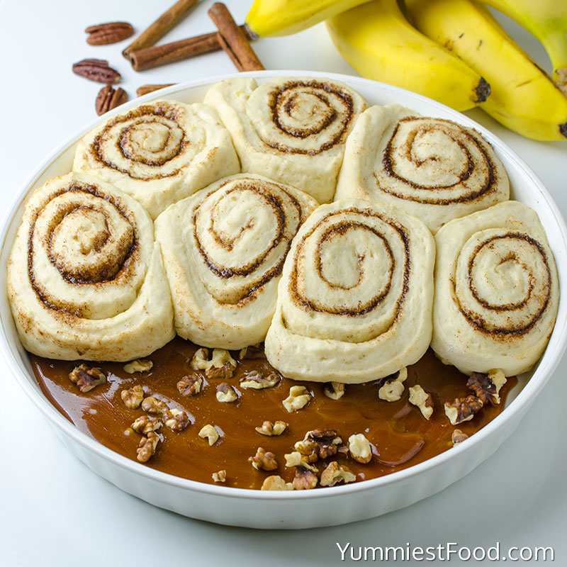 Homemade Upside Down Banana Bread Cinnamon Rolls - Making - Step 1