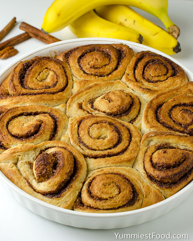 Homemade Upside Down Banana Bread Cinnamon Rolls - Making - Step 2