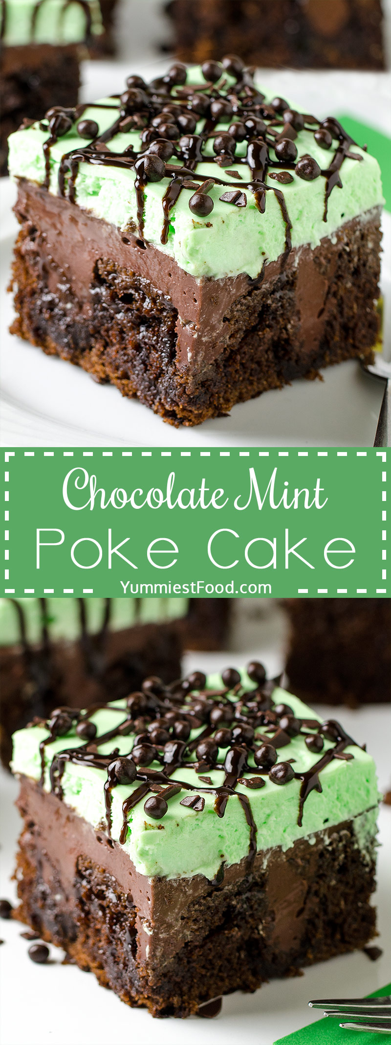 CHOCOLATE MINT POKE CAKE - rich chocolate cake, creamy chocolate pudding and light mint cheesecake topping.