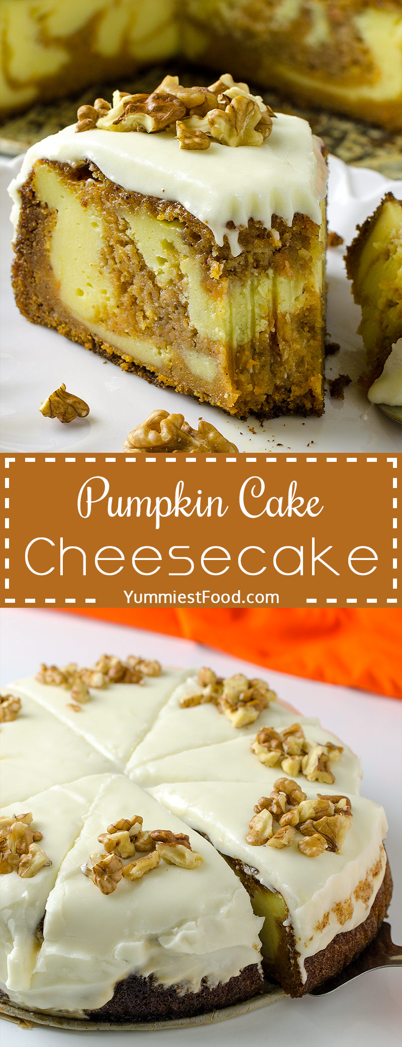 PUMPKIN CAKE CHEESECAKE - No Thanksgiving table is complete without pumpkin cake cheesecake. This perfect recipe is soft, moist, delicious and so very good. The perfect dessert for your Thanksgiving dinner party.