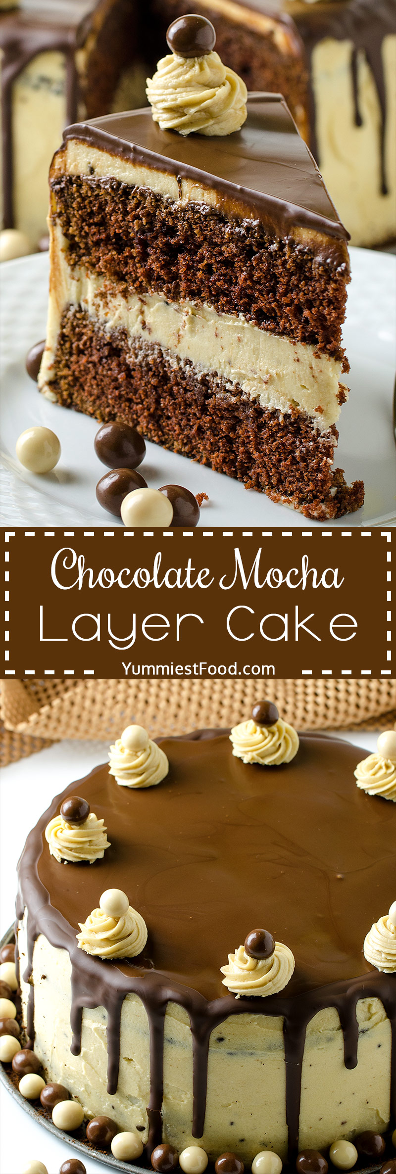 CHOCOLATE MOCHA LAYER CAKE – Rich and delicious chocolate cake with perfect mocha buttercream! Favorite cup of coffee in cake form a truly decadent treat!