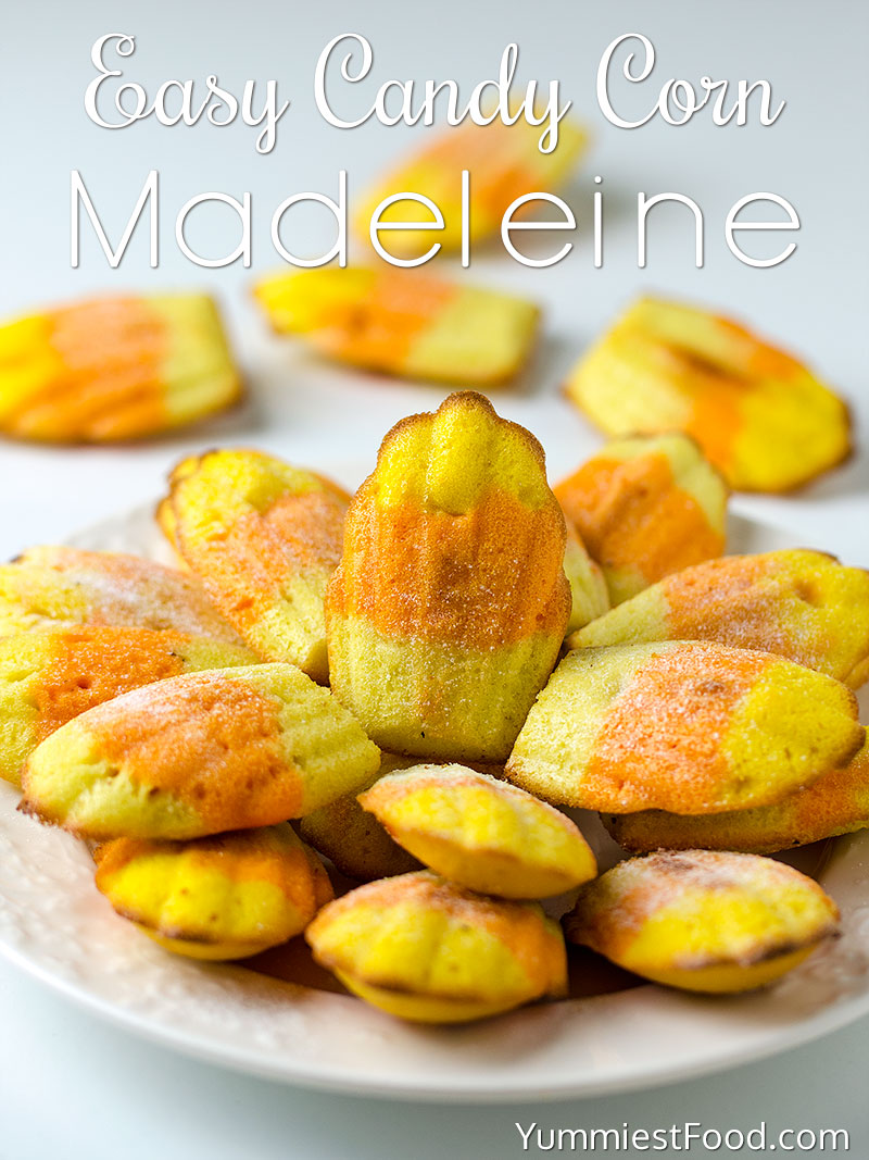 Easy Candy Corn Madeleine Recipe - served on the plate