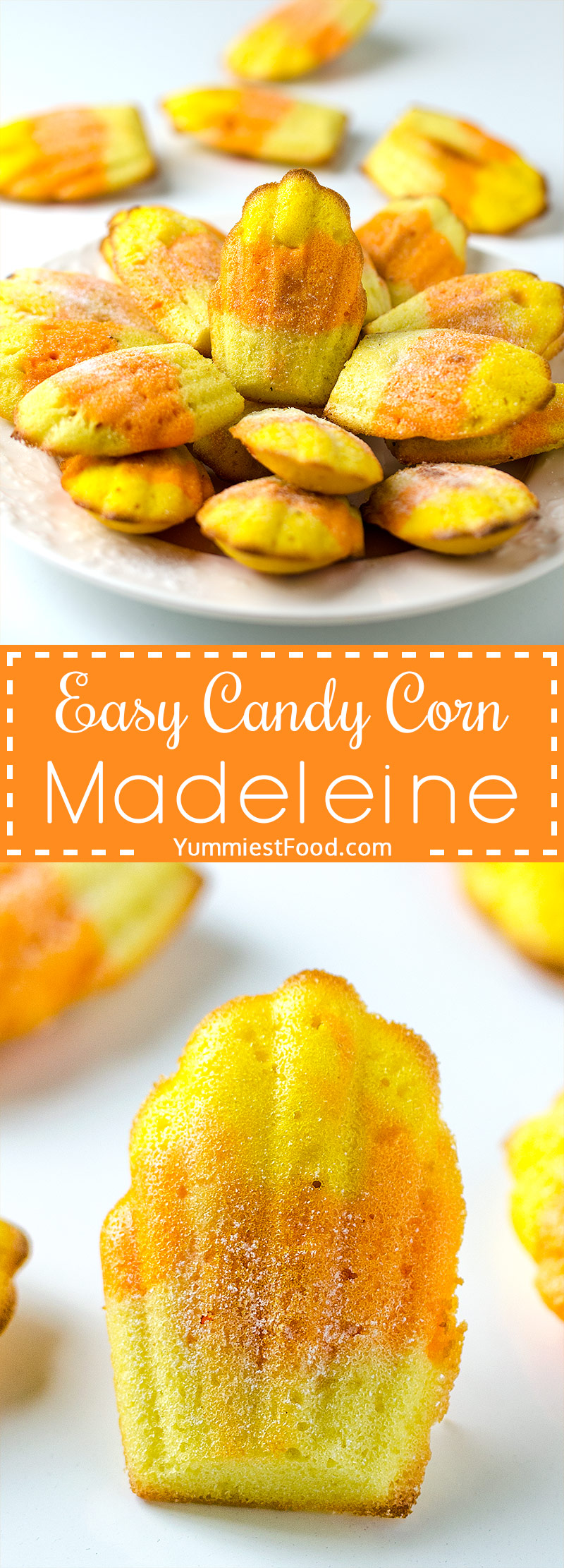 EASY CANDY CORN MADELEINE – Easy and delicious Halloween Candy Corn Madeleine is quick and easy treat that you can make with the kids.