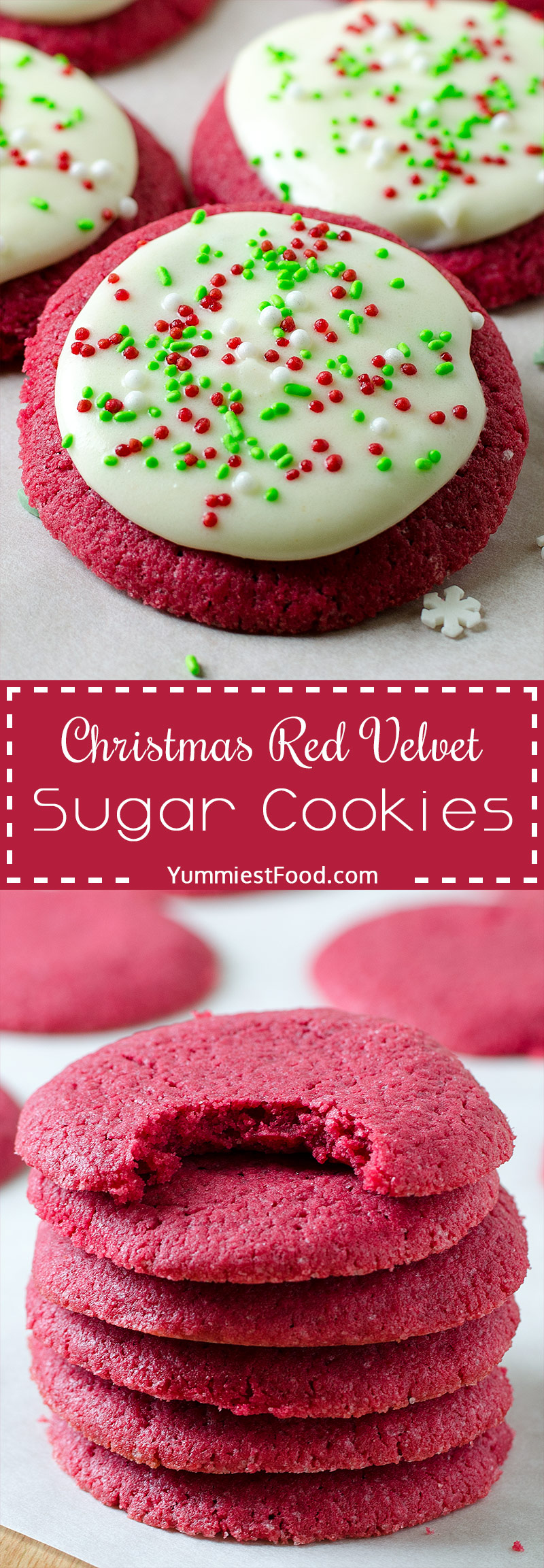 CHRISTMAS RED VELVET SUGAR COOKIES – Perfect and easy cookie recipe for Christmas or any festive time of year! The delicious flavor of red velvet, buttery soft and topped with best cream cheese frosting