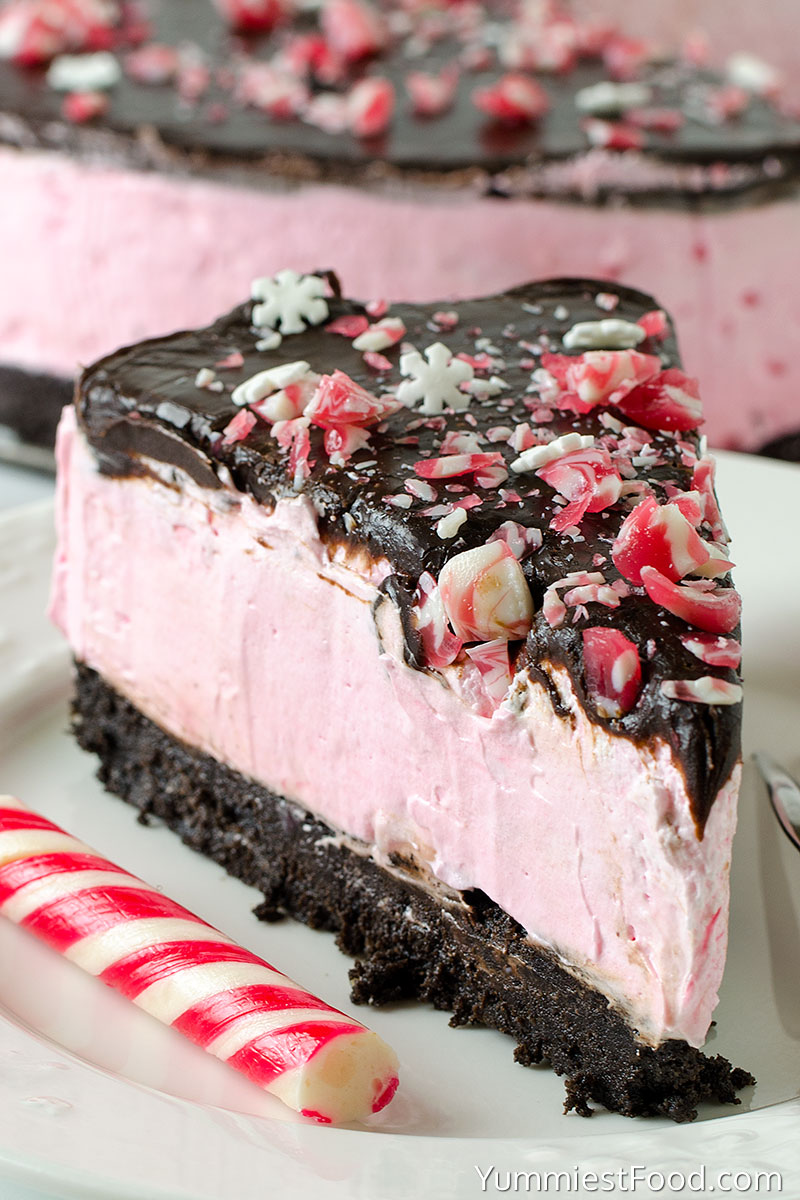 No-Bake Peppermint Cheesecake - served on the plate
