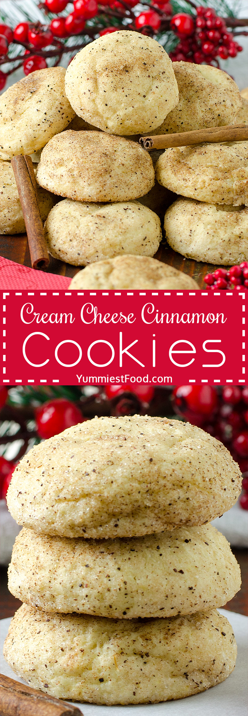 EASY CREAM CHEESE CINNAMON CHRISTMAS COOKIES - Easy and best cream cheese cinnamon cookies recipe ever! Perfect cookies for holidays