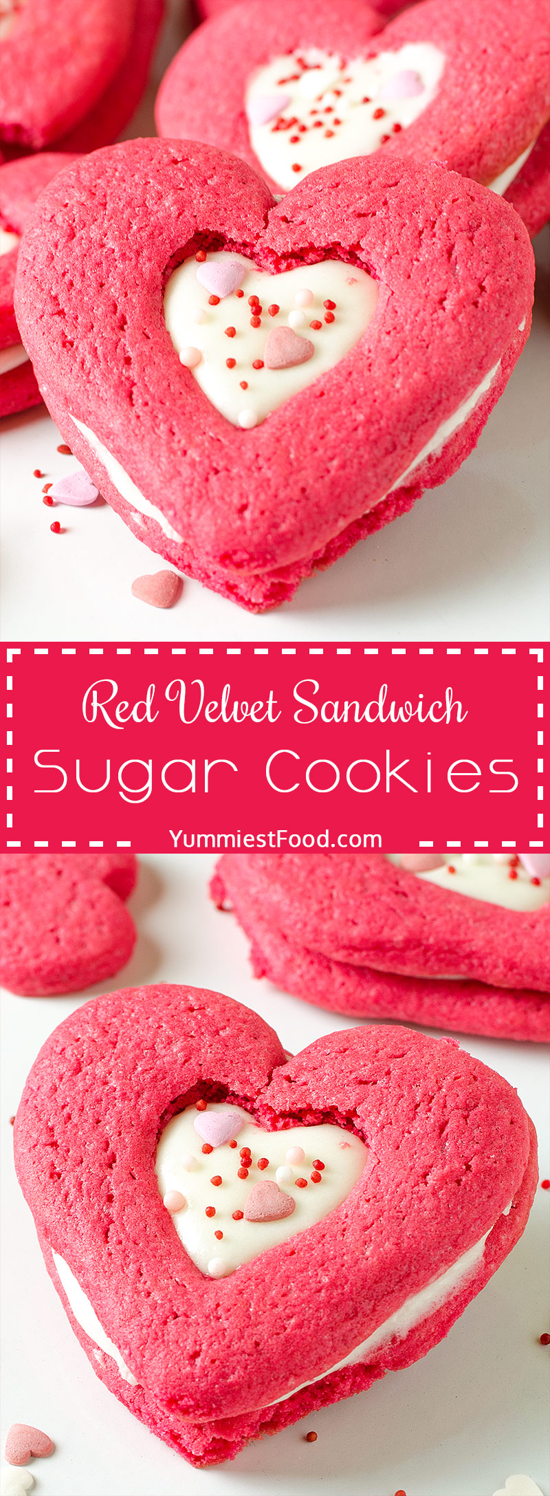 VALENTINES RED VELVET SANDWICH SUGAR COOKIES – Two red velvet sugar cookies are sandwich with cream cheese filling and topped with cute Valentines sprinkles
