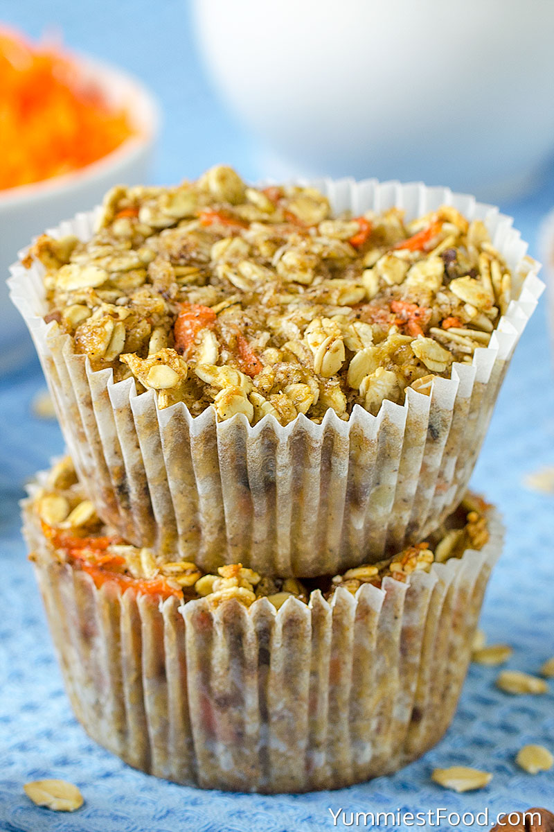 Healthy Carrot Oatmeal Muffins at the table