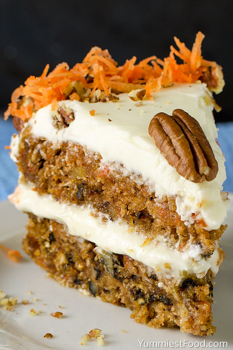 Homemade Carrot Cake - served on the plate