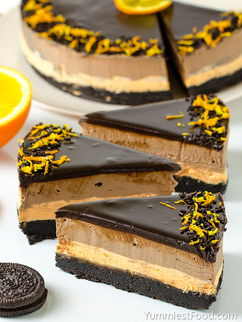 No Bake Chocolate Orange Cheesecake - at the table