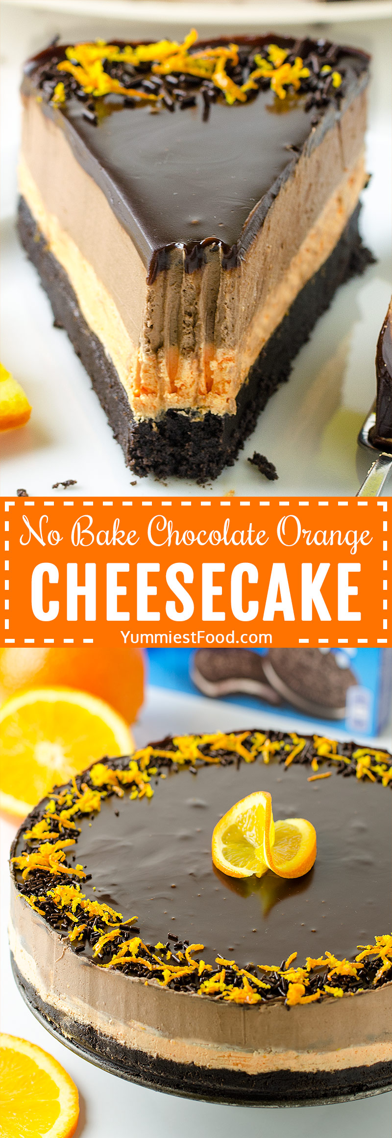 NO BAKE CHOCOLATE ORANGE CHEESECAKE - rich, moist and flavorful cheesecake