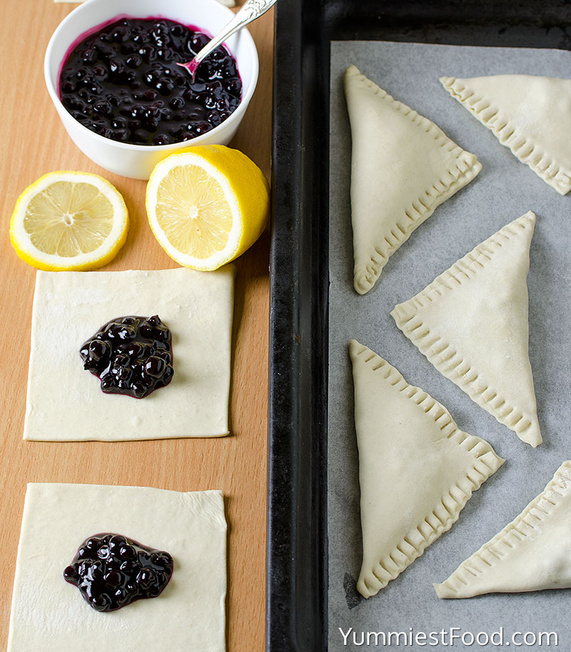 Puff Pastry Blueberry Turnovers - Making