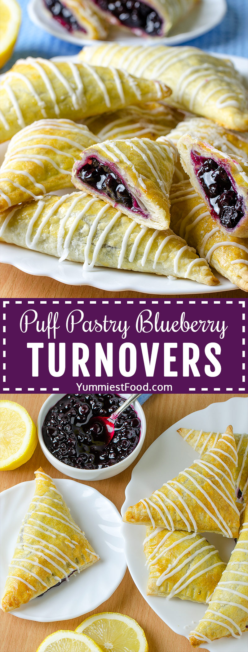 These Puff Pastry Blueberry Turnovers are light, flaky, filled with blueberry filling then drizzled with lemon glaze