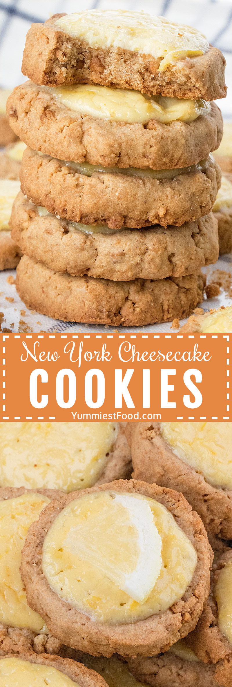 New York Cheesecake Cookies recipe from the scratch - crispy cookies topped with light refreshing cream cheese and lemon cream