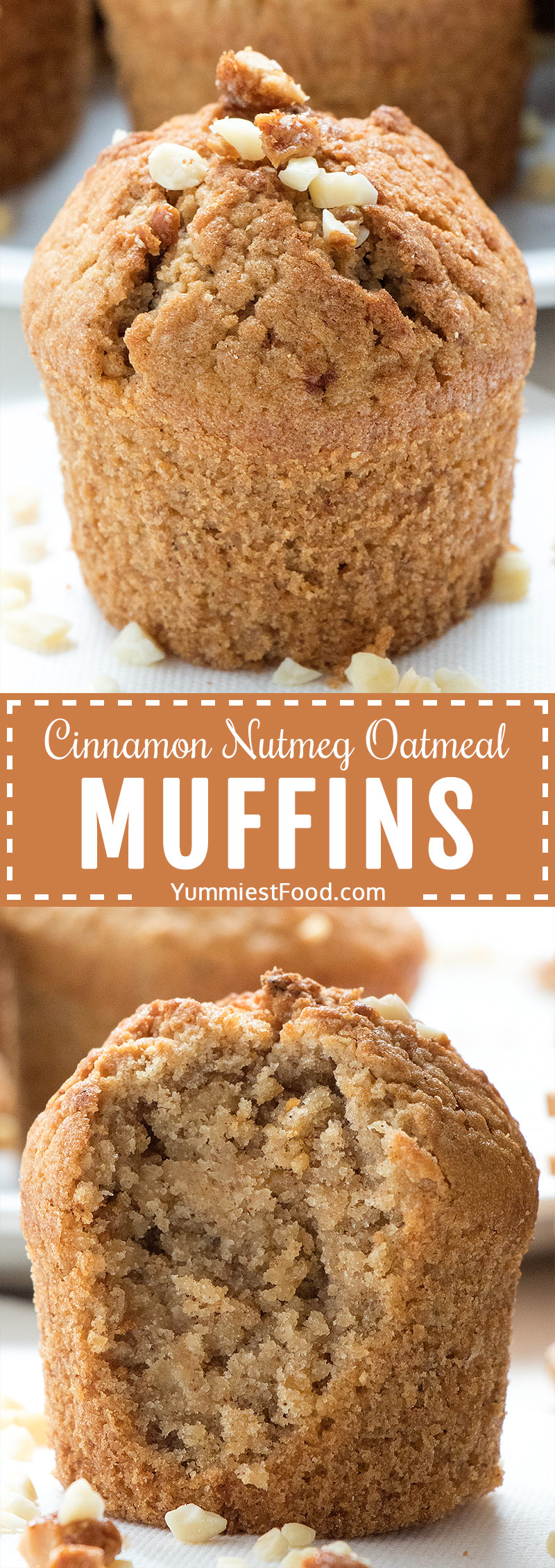 Cinnamon Nutmeg Oatmeal Muffins - easy and healthy recipe using oats