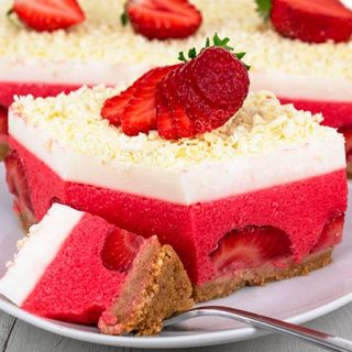 No Bake Strawberry Cheesecake Lasagna Recipe - Featured Image