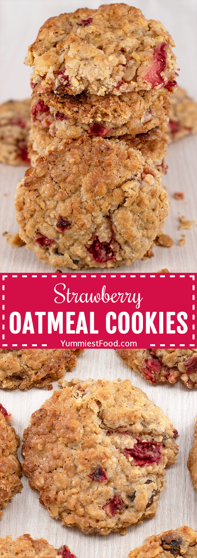Chewy Strawberry Oatmeal Cookies - suitable for vegans and those who enjoy clean eating