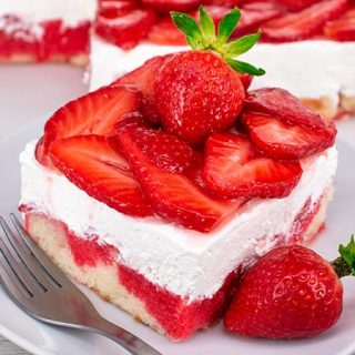 Strawberry Poke Cake Recipe - Featured Image