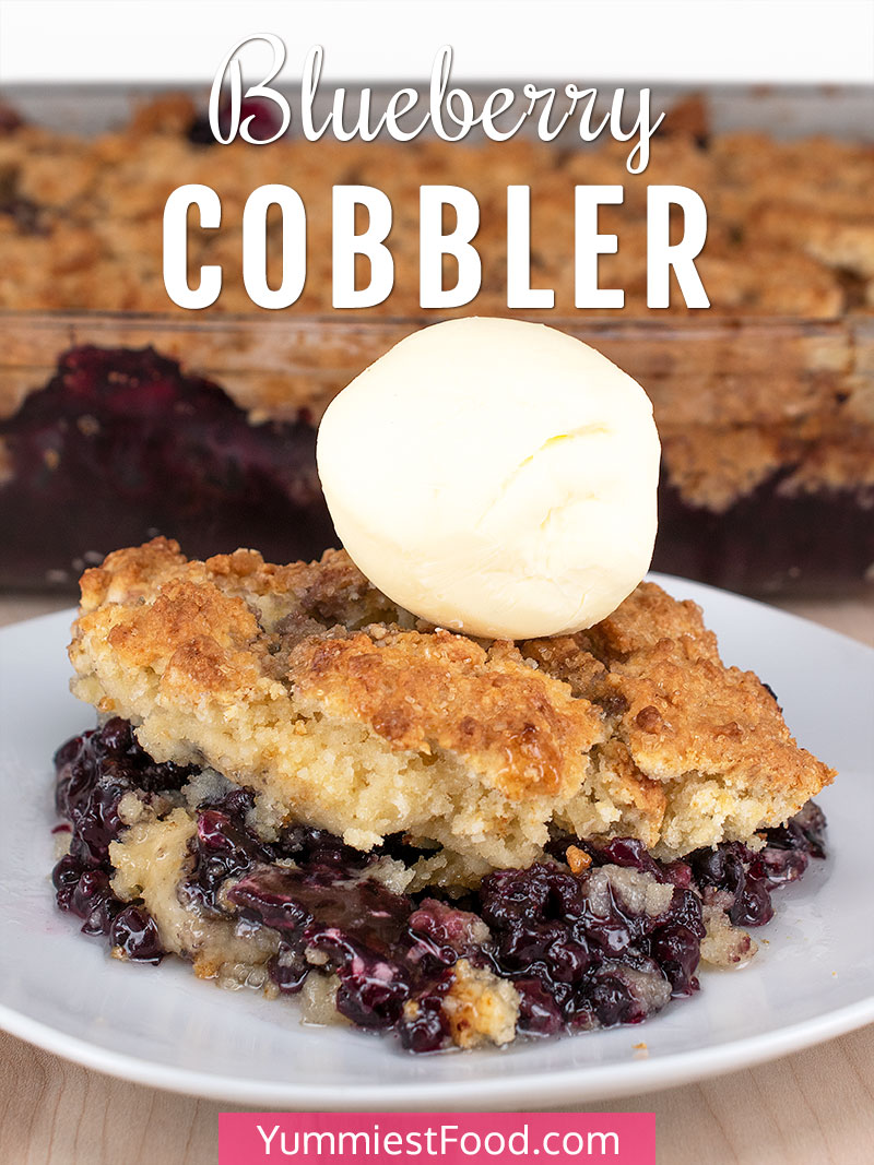 Blueberry Cobbler - served on the plate