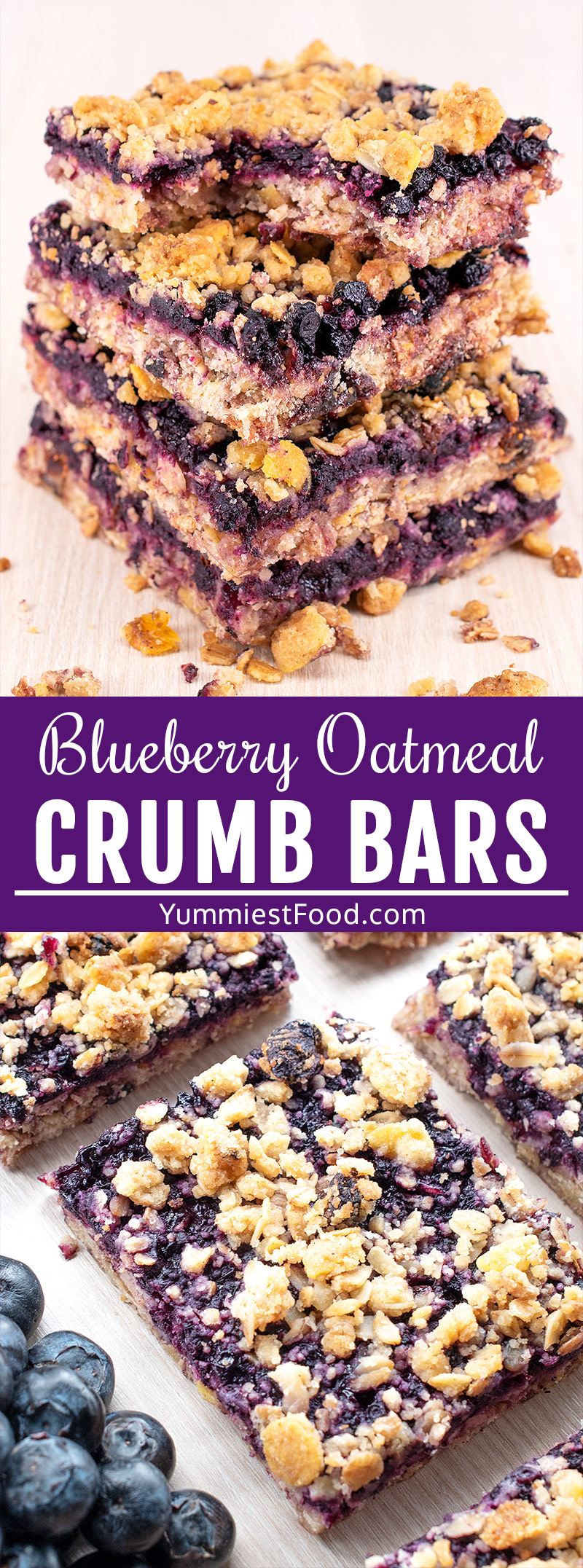 These easy Healthy Breakfast Blueberry Oatmeal Crumb Bars are perfect for breakfast, snack or dessert and are suitable for people who follow the Paleo diet or love clean eating