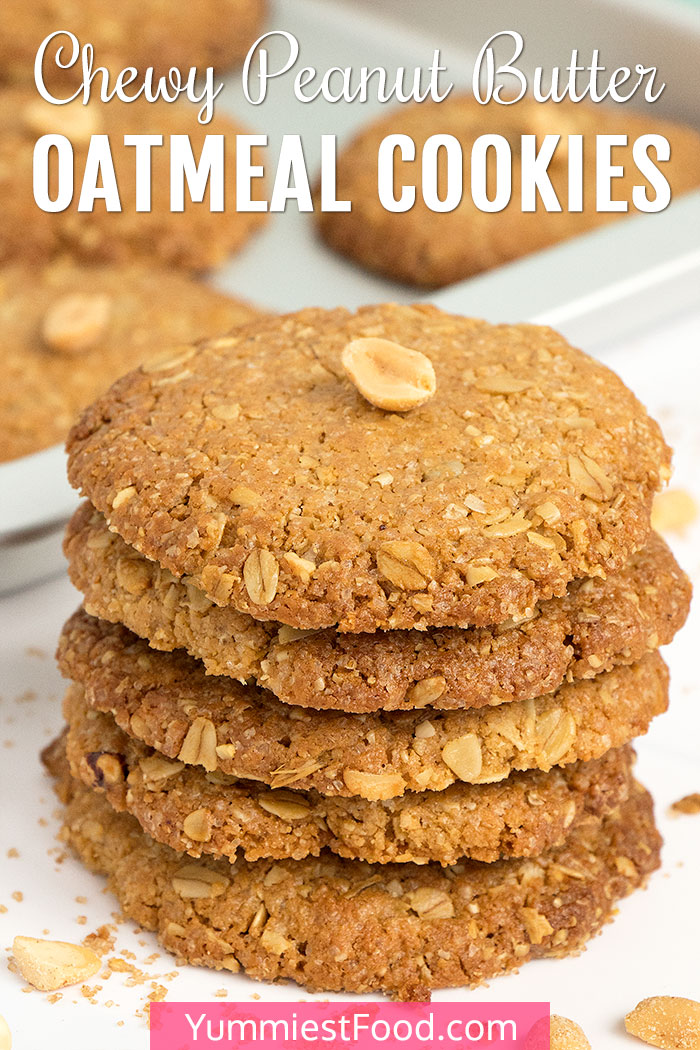 Chewy Peanut Butter Oatmeal Cookies - Cookie Tower