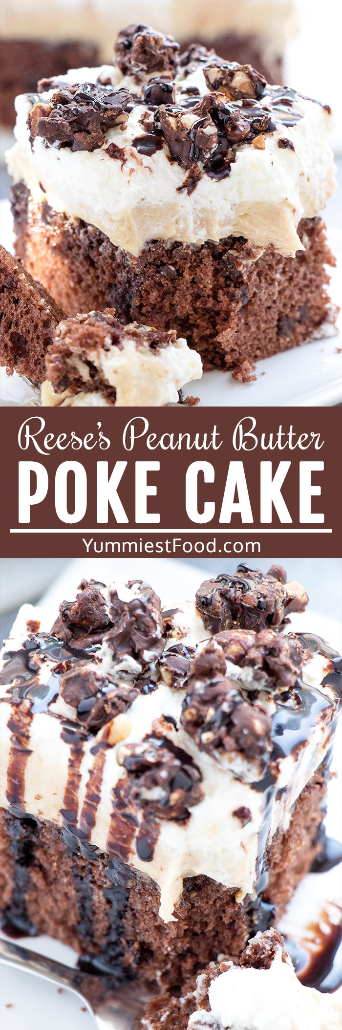 Reese's Peanut Butter Poke Cake is an easy summer dessert perfect for parties and potlucks