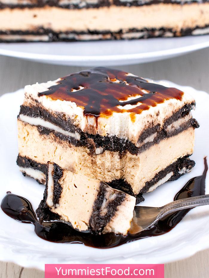 No Bake Salted Caramel Oreo Icebox Cake - Cut Cake
