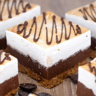S'mores Fudge Bars with Homemade Marshmallow Topping