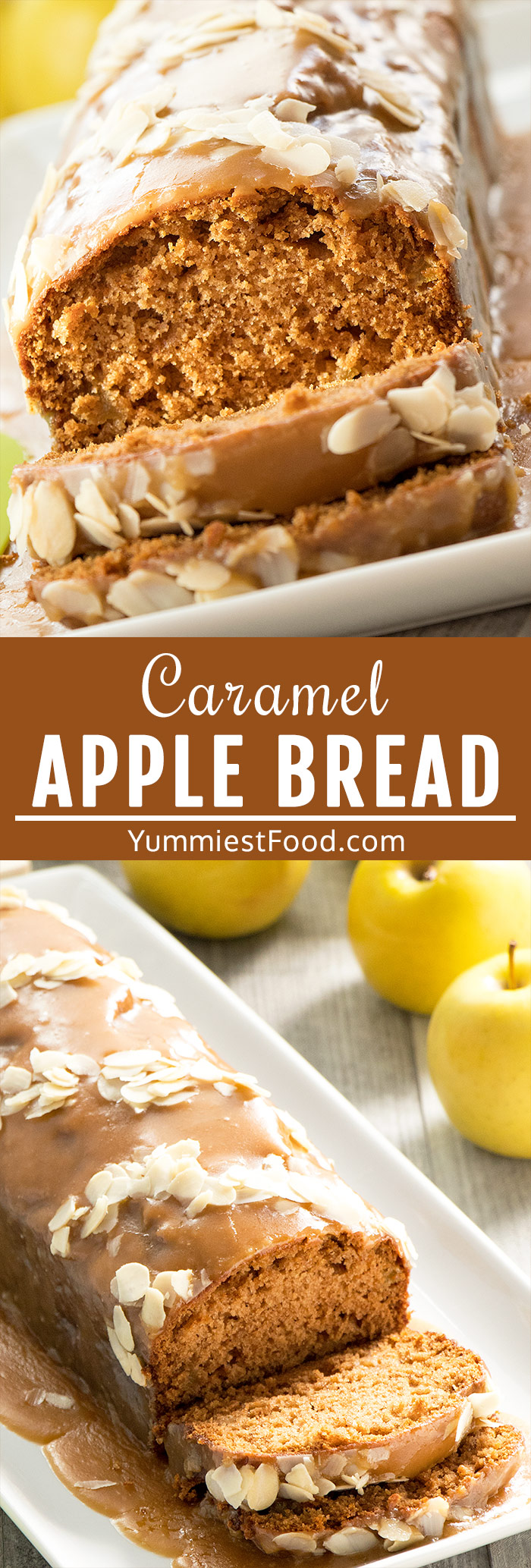 Caramel Apple Bread with Cinnamon and Nutmeg - dense and flavorful quick and easy Caramel Apple Bread topped with 3 ingredients and only 5 minutes to make caramel glaze