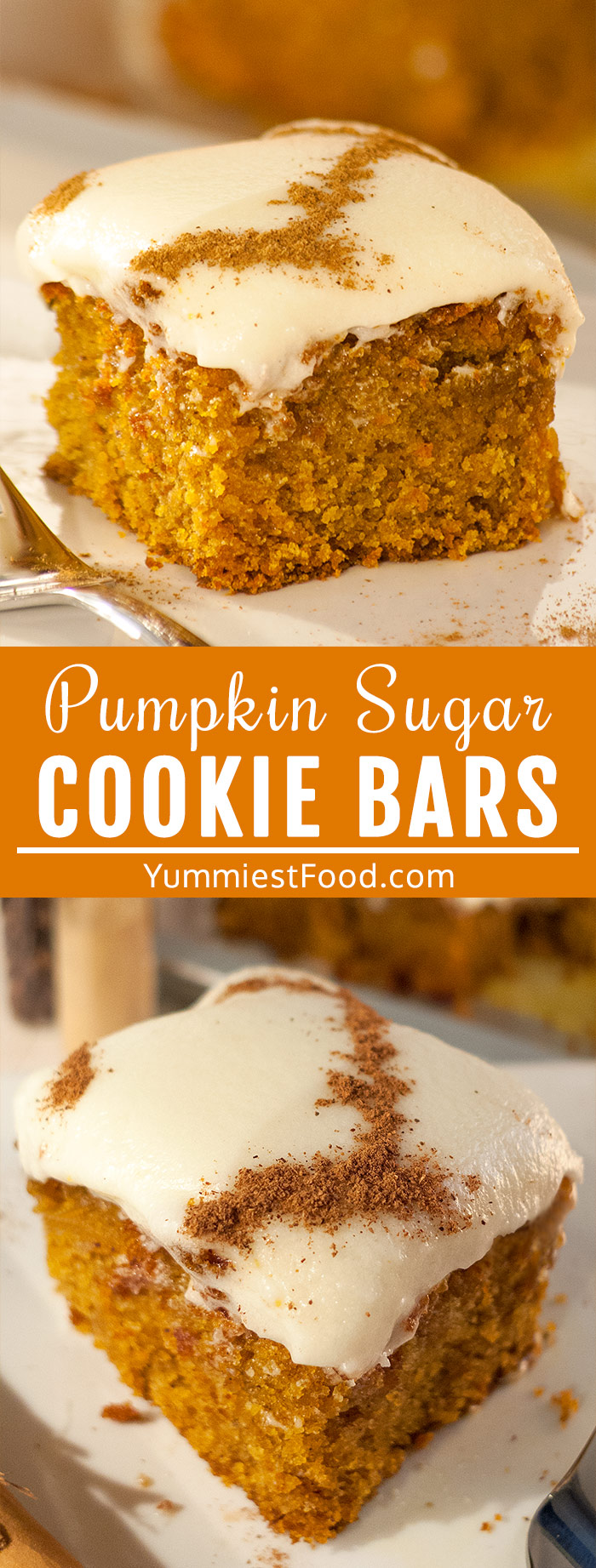 Pumpkin Sugar Cookie Bars with Cream Cheese Frosting - Made of homemade pumpkin puree and topped with cream cheese frosting