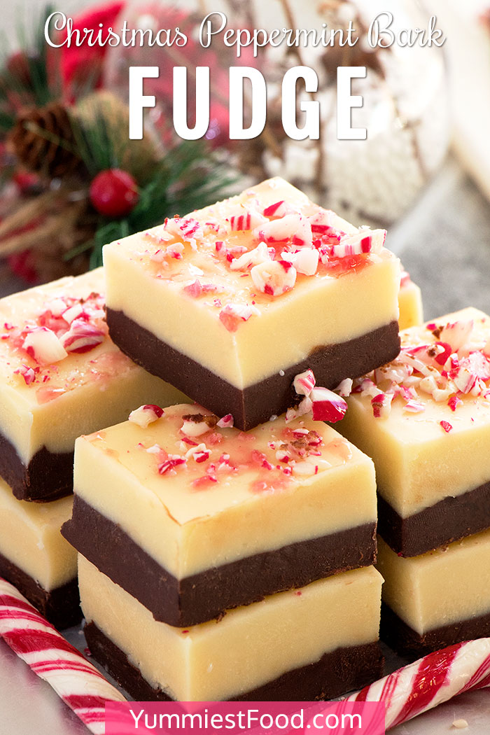 Christmas Peppermint Bark Fudge Recipe